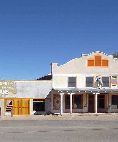 The facade of the Santo Domingo Trading Post